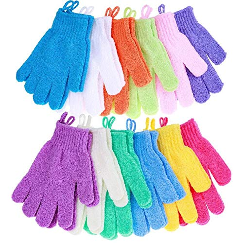Exfoliating Gloves, Anezus 12 Pairs Scrub Gloves Exfoliating Shower Bath Scrub Gloves Bulk for Shower, Bath and Body Scrub Exfoliator (12 Colors)