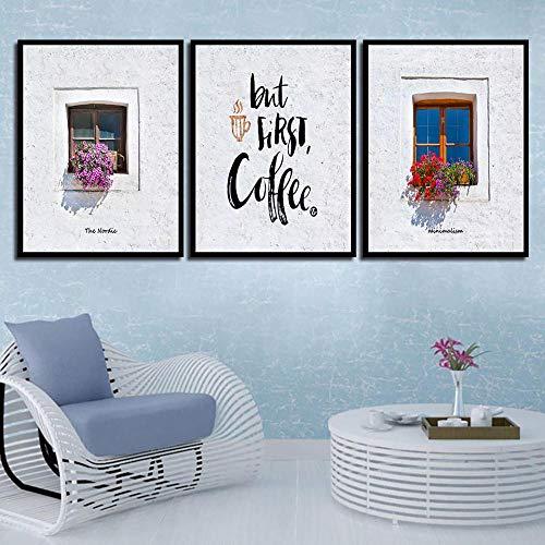Wydlb Minimalistische kunstdruk raam bloemen poster koffie citaten wandschilderijen woonkamer decoratie canvas schilderij wooncultuur 50x70cmx3 zonder lijst