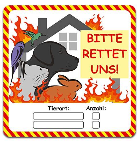 Tierfinder 2er Set Aufkleber Brandschutz Leitsystem für Feuerwehr Notfall Brand Rettung Haustiere Hund Katze Kleintiere Sticker Tür Fenster R119 (PVC Folie)
