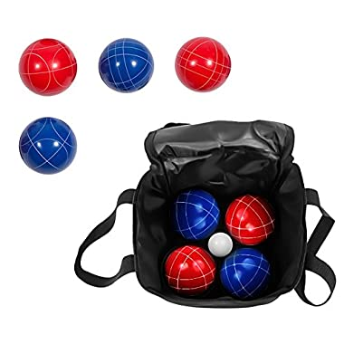 Bocce Ball Premium Set - Top Quality Resin Balls - 9 Balls with Carry Case By Trademark Innovations (Red/Blue, 90mm)