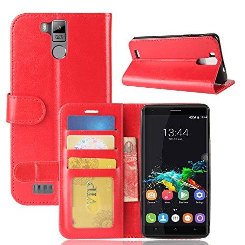 pinlu® Premium Geschäfts Art Luxus PU Leder Etui Schutzhülle Für Oukitel K6000 / K6000 Pro Lederhülle Flip Hülle Brieftasche Mit Stand Function Innenschlitzen Design Rot