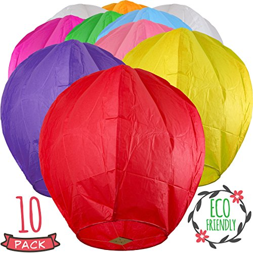 Chinese Lanterns 10-Pack Color, Sky High, Fully Assembled, Biodegradable, Sky Lanterns by Coral entertainments for Birthdays, Ceremonies, Weddings. Safe to use and Flame Retardant Paper
