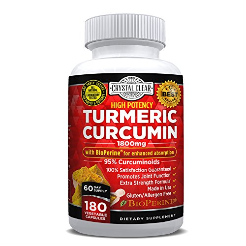 Turmeric Curcumin with Bioperine 1800mg - Highest Potency, Best for Joint Pain Relief, Heart Health and Anti-Aging, Natural Antioxidant, Gluten Free, Non-GMO, Black Pepper Extract - 180 CT