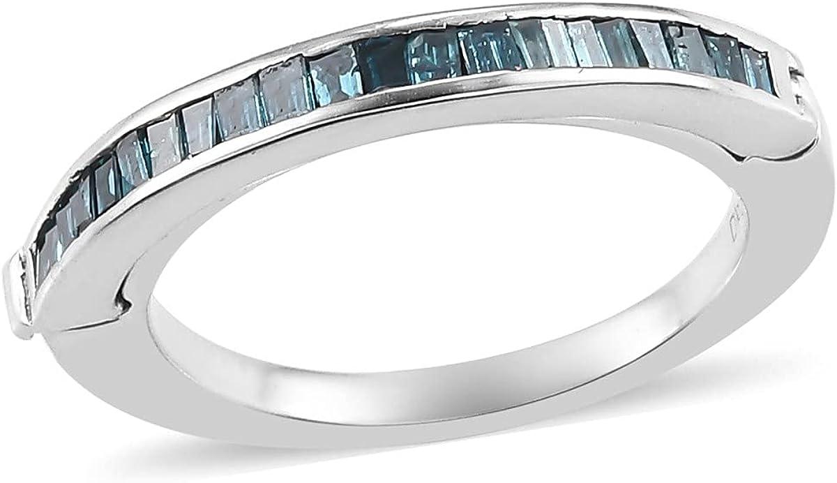 Shop LC 925 Sterling Silver Blue Nippon regular agency Band Platinum Ring Plat Diamond San Francisco Mall