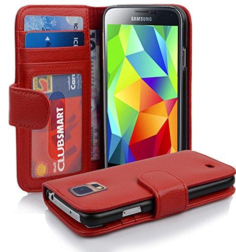 Cadorabo Hülle für Samsung Galaxy S5 / S5 NEO - Hülle in Inferno ROT – Handyhülle mit 3 Kartenfächern - Case Cover Schutzhülle Etui Tasche Book Klapp Style