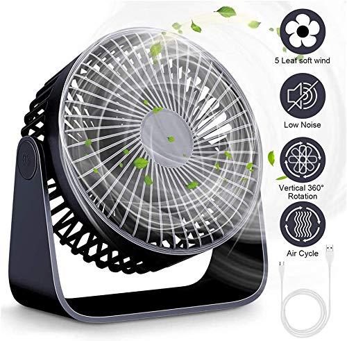 WUAZ Schreibtisch-Ventilator, Minigröße Silent-USB-Ventilator, Geräuschlose Lüfter Mit 360 ° Einstellbarer Kopf, Personal Desktop Lüfter Für Home Office Außen Reisen