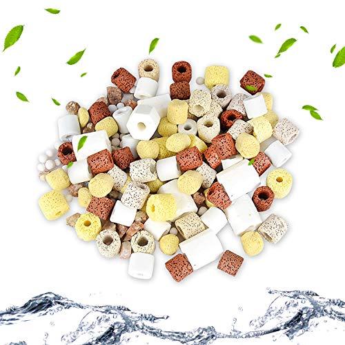 QUCHENG Anillos de cerámica para Acuario, filtros de Bio, Anillos de cerámica Premium para Todos los Tipos de peceras y estanques, 1000 g (10 en 1 combinacion)