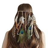Ymwave Damen Stirnbänder Hippie Boho Haarband Haarschmuck Indisch Kopfschmuck Feder Quasten Gürtel Seil Weben mit Holzperle für Frauen Festival Karneval, 2#, One Size
