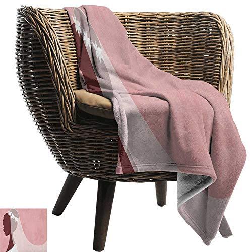 ZSUO stranddeken bruidsdouche, bruid in bruidsjurk op roze achtergrond met sluier viering afbeelding lichtroze en wit gezellig en duurzaam stof-machine wasbaar