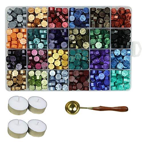Aiboria 600 Stück Siegelwachs Perlen Set Vintage Bunt Siegel Perlen mit Teelichter und Siegelwachs Löffel für Wachs Siegel Stempel Umschlägen Briefe Hochzeitseinladungen Karten Geschenkbox