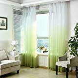 SIMPVALE 1 Pieza Cortinas de Gasa - degradados - Visillos Transparente - para Dormitorio, la Sala de Estar, balcón, Salon (Verde con Blanco, Ancho 150cm / Altura 260cm)