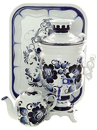 Tea Gift Set Electric Tula Samovar Gzhel Hand Painted Teapot Salver 110V