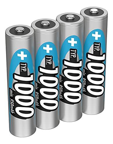 ANSMANN Akku AAA Micro Typ 1000mAh - 1,2V - Leistungsstarke NiMH AAA Akkus für Geräte mit hohem Stromverbrauch - Akku Batterien AAA ideal für Phone & Kamera - Accu AAA - 4 Stück