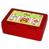 Brotdose mit Namen Tilda und schönem Eulen-Motiv für Mädchen, rot - Brotbox - Vesperdose - Vesperbox - Brotzeitdose mit Vornamen
