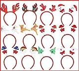 12 Piezas Lindas Diademas de Navidad Papá Noel Muñeco de nieve Reno Árbol Sombreros Diademas Cabello Duro Niños Adultos Accesorios de fiesta de Navidad Estilos mixtos