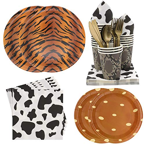 Pandecor 140 Pcs Jungle Safari Zoo Animal Print Party Supplies -Serves 20- Children's Birthday Party Dinner Plates,Dessert Plates,Cups,Napkins,Forks,Knives and Spoons