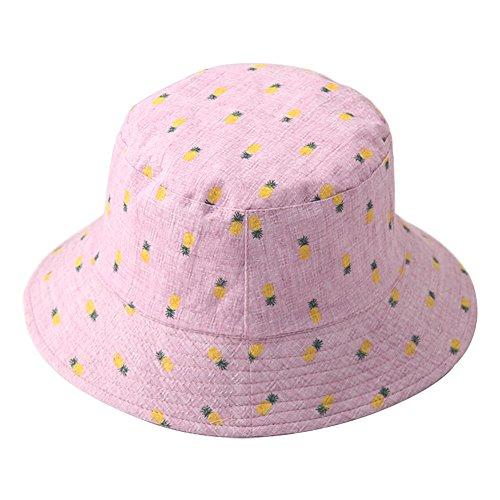 MSYOU Sommer-Kappe, einfach, klein, frisches Ananas-Muster, Segeltuch, faltbarer Sonnenhut für Damen und Mädchen, Reise-Visier, Fischerhut, Outdoor-Sonnenhut (dunkelrosa)