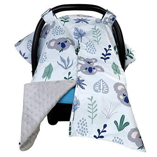 Car Seat Canopy for Babies, Nursing Cover Up with Opening,4-in-1 Infant Carseat,Stroller Covers,Newborn Change Mat & Ultra-Soft Blanket, Best Baby Shower Gift for Breastfeeding Moms