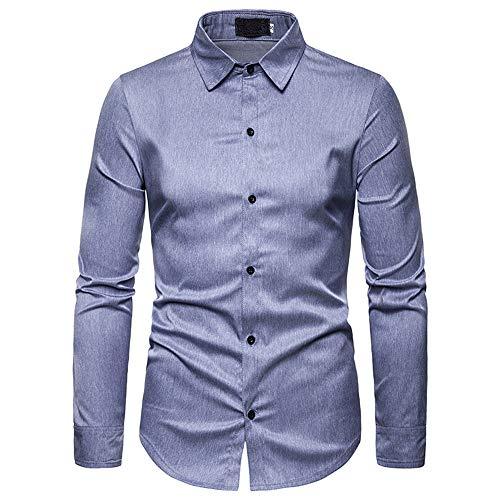 YJNH Herren Hemd Revers Langarm Slim-Fit Business formal Arbeit Party Button Hemd Outdoor Casual Daily Streetwear Frühling, Herbst und Winter neu top S