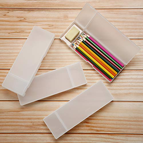 4 Pieces Plastic Stationery Case Pencil Case with Hinged Lid and Snap Closure for Pencils Pens Drill Bits School Office Supplies (White)