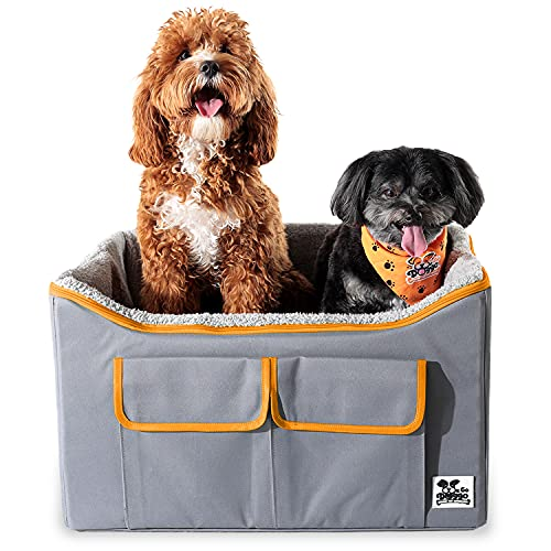 WeGo Doggo Buddy Booster Dog Car Seat - Small & Medium Dogs - Dog Booster Seat with Bed & Extra Storage - Safer Car Rides with Headrest Leash Tether - 40 Shelter Meals Donated Per Pet Car Seat