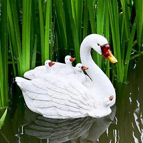 zenggp Ornamenti Galleggianti per Uccelli Artigianali Galleggianti per Esche d'Acqua di Cigno per Stagni - Decorazione per Laghetti con Statue da Giardino