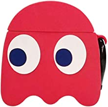 BONTOUJOUR AirPods Case, Super Cute Creative Big Eyes Game Pac-Man Ghost Face Monster AirPods Case, Funny Soft Silicone Earphone Protection Skin for AirPods1&2+Hook -Red