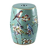 Pattern Ceramic Garden Stool or Side Table Garden Stool Plant Table, Oriental Chinese Style Glazed Porcelain Stool, Indoor Outdoor Ceramic Decorative Garden Stool (C)