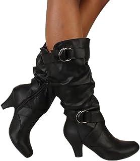 Dasongff Bottes hautes pour femme à talons hauts - Bottes d'hiver imperméables - Vintage - Bottes de cowboy - Antidérapant...