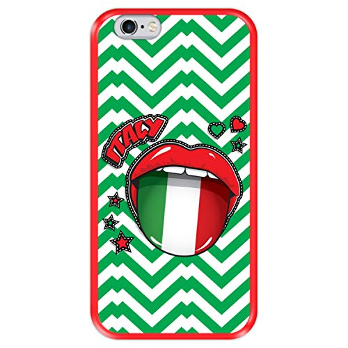 Funda Roja para [ Apple iPhone 6 6S ] diseño [ Bandera de Italia, Pop Art Sexy Labios Rojos ] Carcasa Silicona Flexible TPU