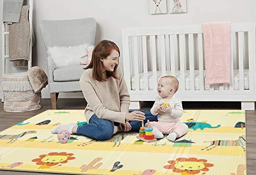 SHACOS Tappeto Gattonamento per Bambini in Schiuma 180x200x1,5 cm Tappeto Bambini Impermeabile Antiscivolo Portatile Tappeto Pieghevole Doppio Lato