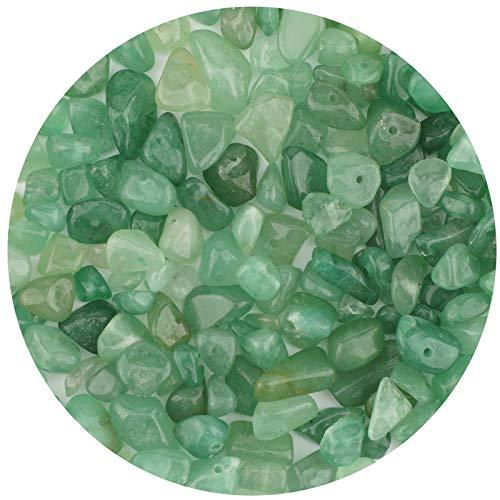 LUTER Perle di Pietra Naturale Chip Circa 500 Pezzi Perle di Pietre Preziose Irregolari Foro Forato per Gioielli Fai da te Collana Braccialetto Orecchino (Avventurina Verde)