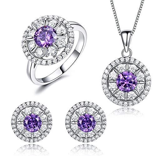 Daesar Conjunto Anillo Pendientes y Collar Mujer Plata de Ley,Juegos de Joyas para Mujer Púrpura Juegos de Joyas Redondo con Flor Circonita Púrpura Blanca