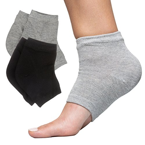 ZenToes Moisturizing Heel Socks 2 Pairs Gel Lined Toeless Spa Socks to Heal and Treat Dry, Cracked Heels While You Sleep (Regular, Cotton Gray/Black)