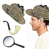 QUCUMER Déguisement Sherlock Holmes Chapeau Pipe Loupe Costume Sherlock...