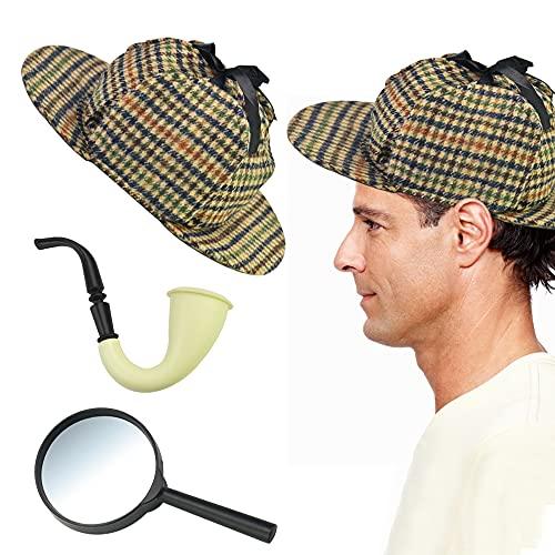 QUCUMER Hat Sherlock Holmes Costume 1* Hat, 1* Lupe, 1*Tabakpfeife, Detektiv Kostüm-Set Detective Zubehör Wolle und Kunststoff Kostümzubehör Sherlock Holmes Deerstalker Set für Fasching & Karneval