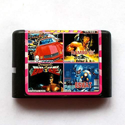 Aditi 4in1 Chase hq 2+Rambo III+Dynamite Duke+Eswat 16 bit SEGA MD Game Card For Sega Mega Drive For Genesis