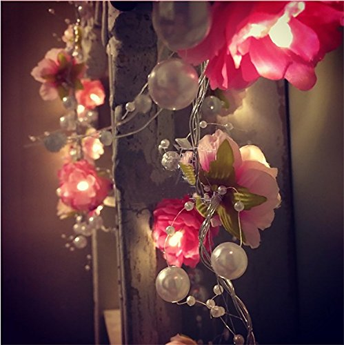 FANStek 20 LED Fairy Flowers Battery Operated String Lights LED Decoration for Christmas Wedding (Pink with Pearls)