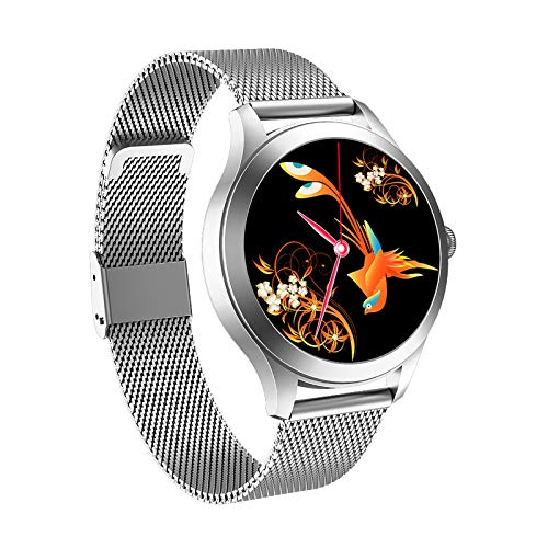 Smart Watch for Women HD Touch Screen IP68 Waterproof Fitness Tracker with Heart Rate Blood Pressure Oxygen Monitor Step Calorie Counter Music Control Smartwatch for iPhone Android Phones (Silver)