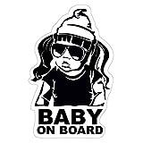 Finest-Folia Baby On Board Sticker 18 x 10 cm Autoadhesivo Pegatinas Auto Coche Adhesivo Resistente al UV Agua (Baby on Board, Niña)