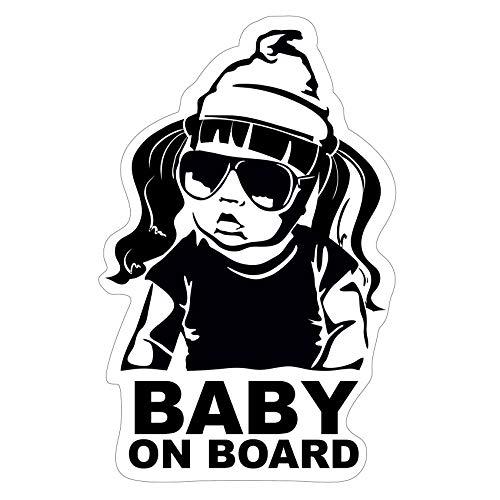 Baby on Board Aufkleber 18x10cm Auto Sticker -Finest Folia Autoaufkleber UV- Wetterfest Wasserfest Hangover R044 (Mädchen, Baby on Board)