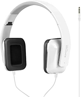 Promate Foldable Headphones, Premium Stereo Headphones With Passive Noise Cancellation, Hd Sound Quality, Comfort-Fit Earpads And Built-In Mic For Iphone X, Samsung S9, Note 8, Sonata White