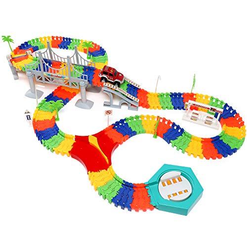C&F Coches de Juguetes - Circuito Coches Juguete Pista de Coche Eléctrico DIY Conjunto de Juguetes Niños 3 Años 4 Años 5 Años 6 Años (192 Piezas)