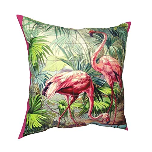 Reebos Fundas de almohada, estilo art déco, con flamencos rosados, para sofá, sala de estar, cama, 45,7 x 45,7 cm