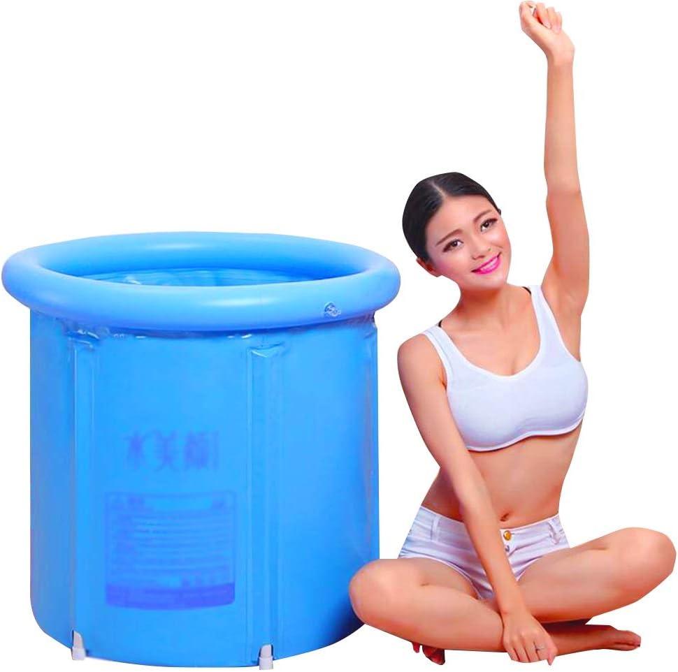 75x75cm NoBrand Baignoire Gonflable Pliante Gonflable Cylindrique PVC /Épaissir avec Couverture Baril de Bain /Élargir Isolation Double Drainage Portable pour Adultes Bain de Trempage