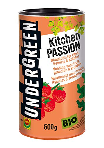 Undergreen by Compo Kitchen Passion, Nährstoffe für alle Obst- und Gemüsepflanzen sowie Kräuter, Bio-Dünger Pellets, 600g