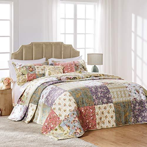 Greenland Home Blooming Prairie Full 3-teiliges Tagesdecke Set, Baumwolle, Mehrfarbig, Volle Größe