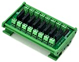Electronics-Salon DIN Rail Mount DC5V 8 Channels DC-AC 2Amp G3MB-202P Solid State Relay SSR Module Board.