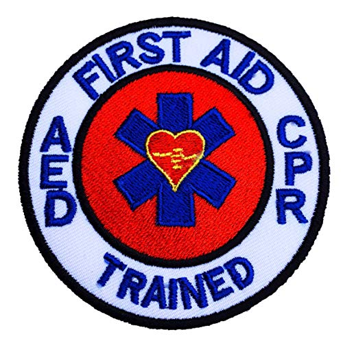 First Aid AED CPR Trained Patch (3 Inch) Embroidered Iron or Sew on Badge DIY Applique Bag Jacket Shirt