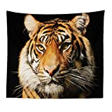 BOYOUTH Tapestry Wall Hanging,Majestic Tiger Head on The Black Background Photos Digital Print Wall Tapestry Art Home Decorations for Living Room Bedroom Dorm,59.1' Wide by 51.2' High